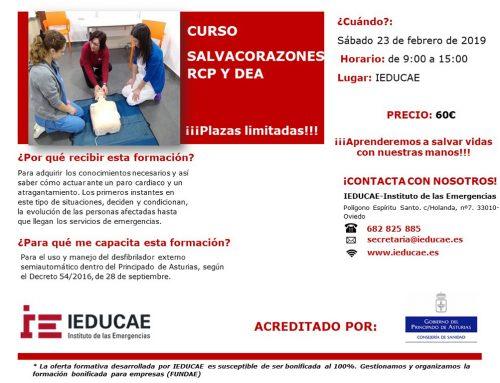 NUEVA Edición. CURSO IEDUCAE SALVACORAZONES RCP Y DEA – 23 de febrero 2019. Acreditado por Consejería de Sanidad de Asturias. Plazas LIMITADAS!! Abierta Inscripción